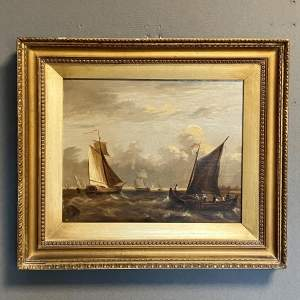 Dutch Early 19th Century Oil on Board Seascape Painting