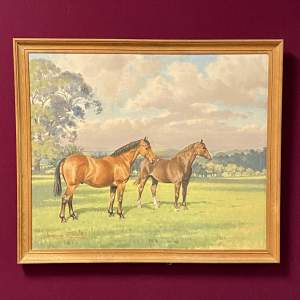 Maurice Tulloch Oil on Canvas Painting of Horses Perc and Olga