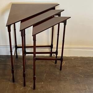 Unusual Corner Nest of Three Mahogany Occasional Tables