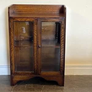 Small 1920s Oak Glazed Bookcase