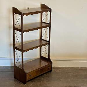 Edwardian Freestanding Bookcase of Four Shelves and Small Drawer