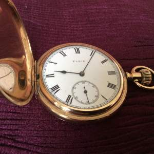 Early 20th Century Elgin Full Hunter Rolled Gold Pocket Watch