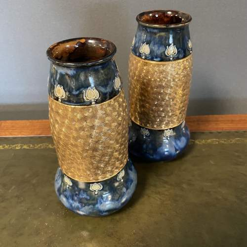 A Pair Of Doulton Lambeth Vases image-1