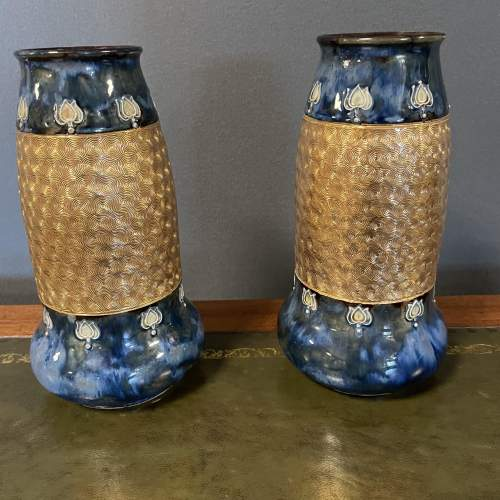 A Pair Of Doulton Lambeth Vases image-3