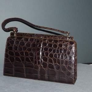 Fassbender 1950s Crocodile Skin Handbag with Accessories