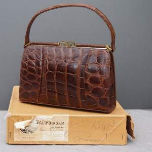 1950s Glossy Dark Caramel Riviera Crocodile Skin Handbag