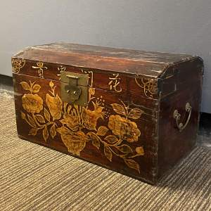 Antique Oriental Wooden Dome Top Trunk