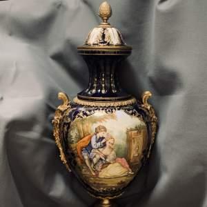 Stunning Sevres Style Enamelled Gilt Bronze Display Urn