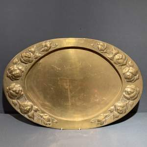 Arts and Crafts Large Oval Brass Repousse Tray