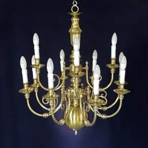 17th Century Style Twelve Branch Brass Chandelier