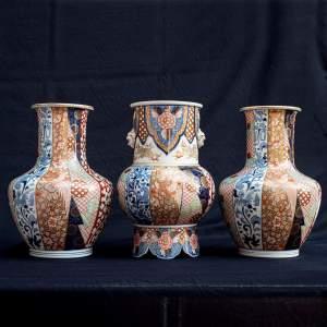 Fabulous Garniture of Three Large Antique Japanese Vases