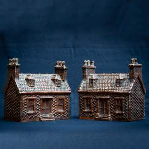 Rare Pair of English Antique Treacle Glazed Money Box Cottages