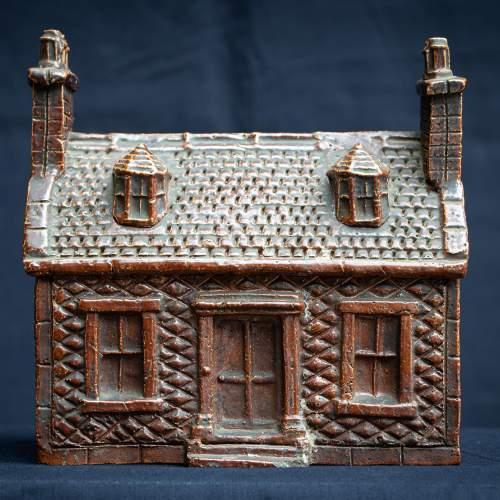 Rare Pair of English Antique Treacle Glazed Money Box Cottages image-2
