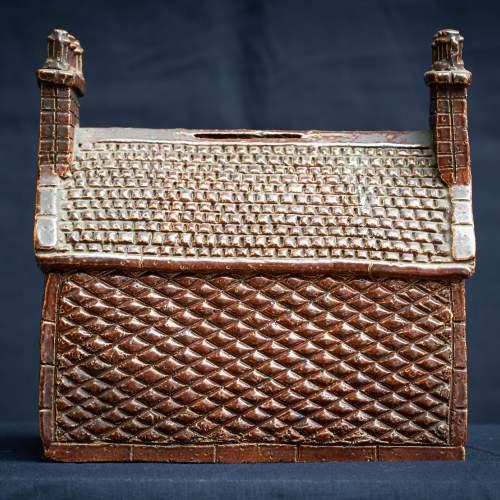 Rare Pair of English Antique Treacle Glazed Money Box Cottages image-4