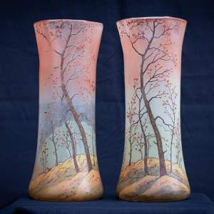 Pair of Antique French Legras Glass Vases