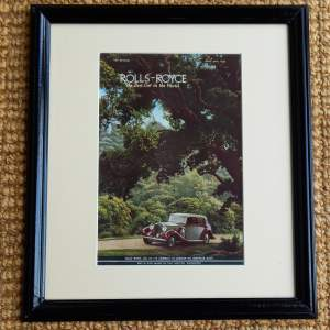Framed Advert From Autocar Magazine 1937 For Rolls Royce