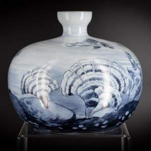 An Art Nouveau Blue Glass Vase Decorated with an Underwater Scene
