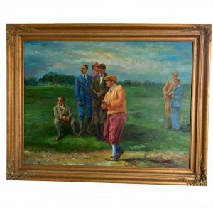 Large Oil on Canvas of Early 20th Century Golfers