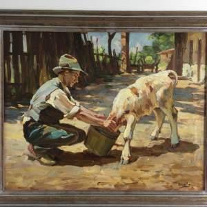 Ursella - Contemporary Oil on Canvas. Farmer feeding his Calf