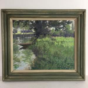 Contemporary Oil on Board. River Landscape - Monogrammed
