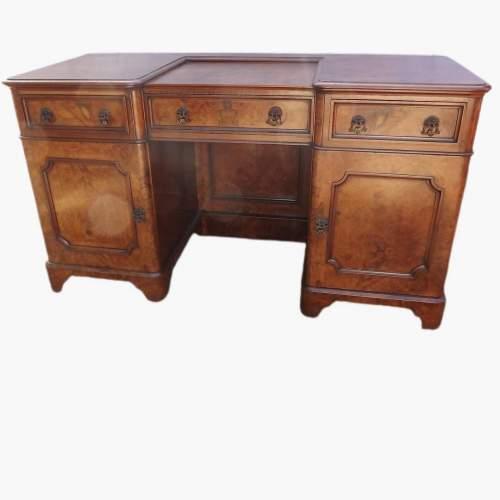 Victorian Burr Walnut Break Front Desk image-1