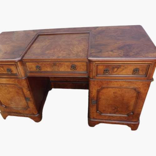 Victorian Burr Walnut Break Front Desk image-2