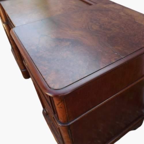 Victorian Burr Walnut Break Front Desk image-3