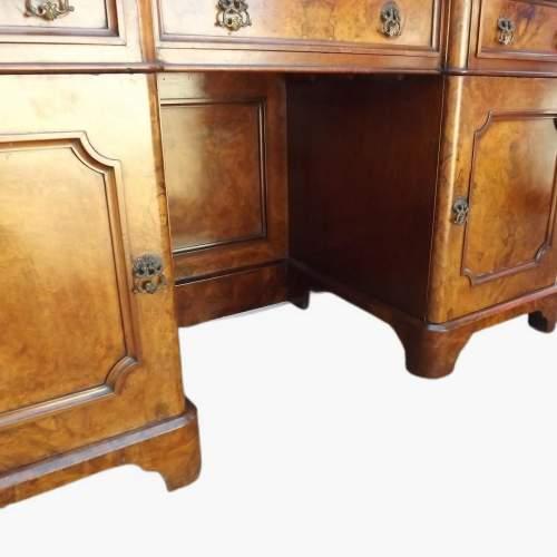 Victorian Burr Walnut Break Front Desk image-6