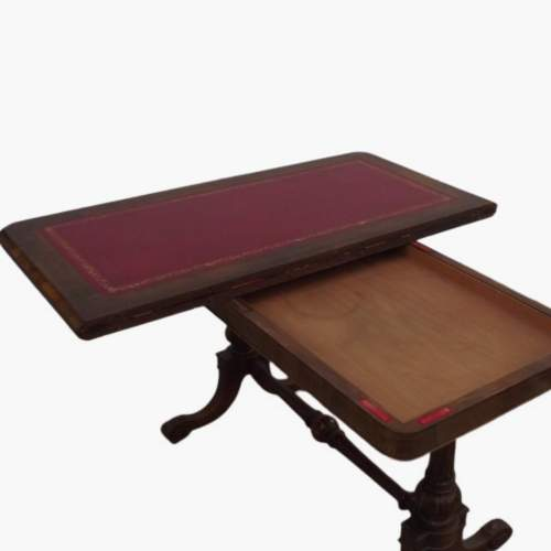 Victorian Rosewood Leather Top Writing Table image-2