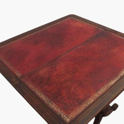 Victorian Rosewood Leather Top Writing Table image-3