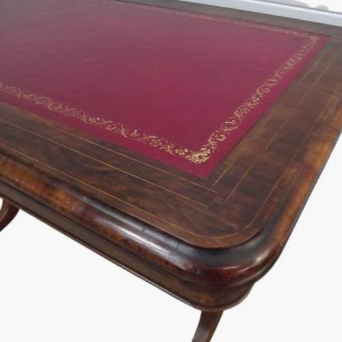 Victorian Rosewood Leather Top Writing Table image-4