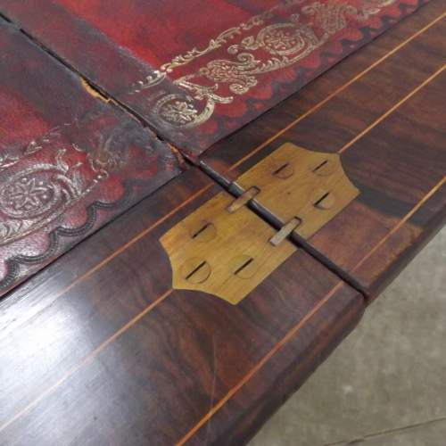 Victorian Rosewood Leather Top Writing Table image-5