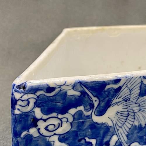 Rare Japanese Blue and White Diamond Shaped Box image-4