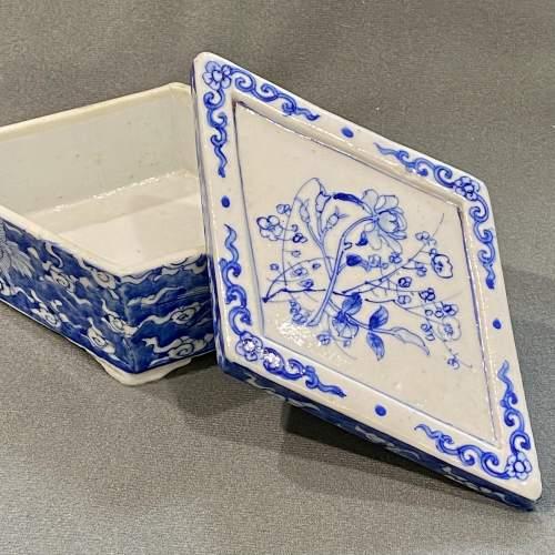 Rare Japanese Blue and White Diamond Shaped Box image-2