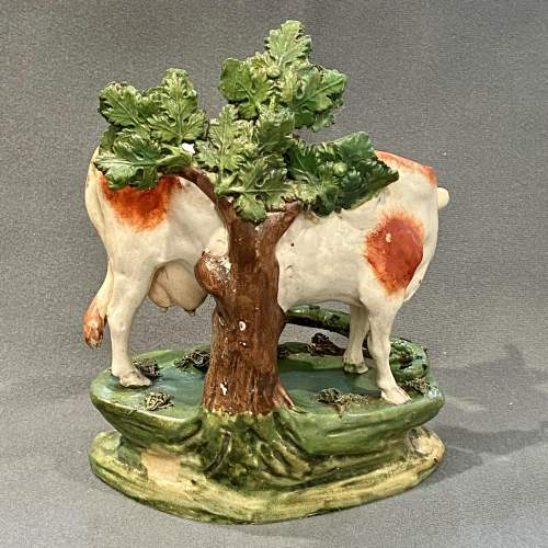 Scarce Staffordshire Pottery Cow Figure with Snake image-4