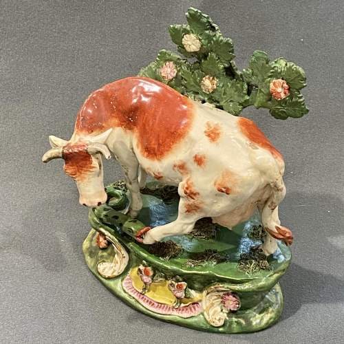 Scarce Staffordshire Pottery Cow Figure with Snake image-3