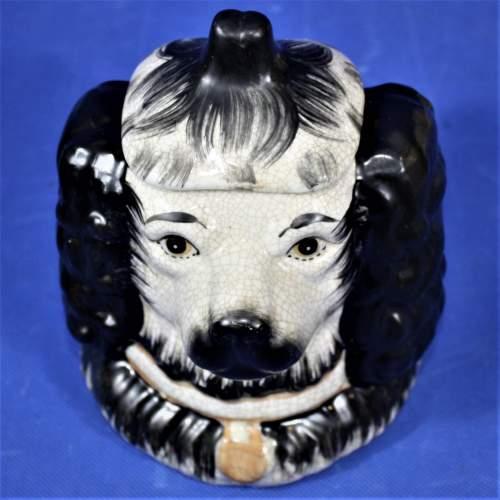 Antique Ceramic Staffordshire Double Sided Spaniel Tobacco Jar image-1