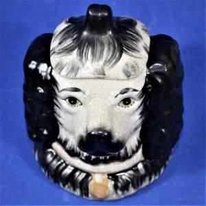 Antique Ceramic Staffordshire Double Sided Spaniel Tobacco Jar