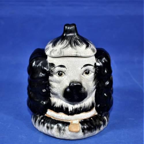 Antique Ceramic Staffordshire Double Sided Spaniel Tobacco Jar image-3