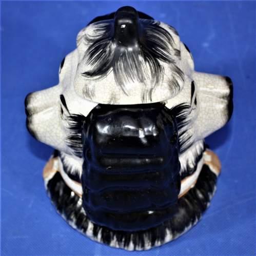 Antique Ceramic Staffordshire Double Sided Spaniel Tobacco Jar image-4