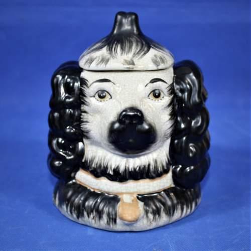 Antique Ceramic Staffordshire Double Sided Spaniel Tobacco Jar image-2