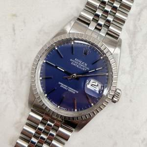 Vintage Gents 1987 Rolex DateJust 16030 Blue Dial Box and Papers