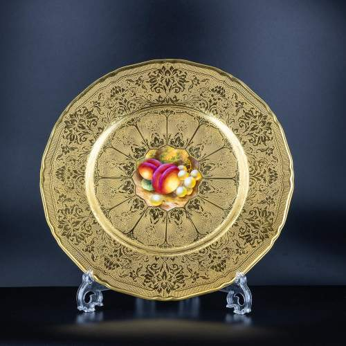 A Richly Gilded Royal Worcester Cabinet Plate image-1