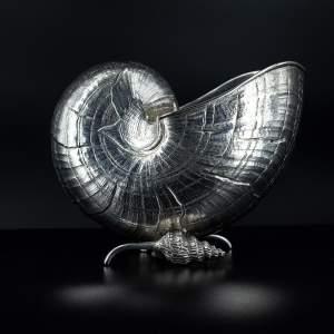 A Fabulous Italian Sterling Silver Nautilus Shell Spoon Warmer