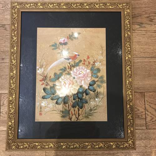 Early 20th Century Chinese Watercolour in Ornate Gilded Wood Frame image-1