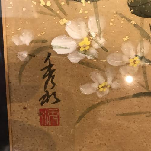 Early 20th Century Chinese Watercolour in Ornate Gilded Wood Frame image-3