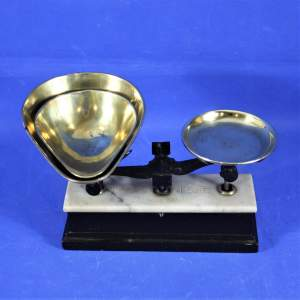 French Scales with Marble and Ebonised Wood Base and Two Brass Trays