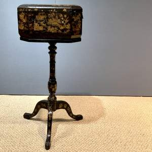 Vintage Oriental Lacquered Teapoy or Box on Pedestal