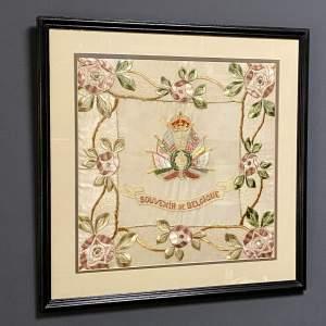 Framed Silk Embroidery Souvenir De Belgique