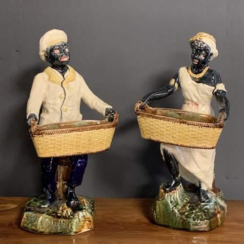 Pair of 19th Century Majolica Blackamoor Figures image-3